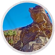 Rock Formation Higher Than Fan Palms Along Lower Palm Canyon Trail In Indian Canyons Near Palm Sprin Round Beach Towel