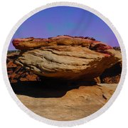 Rock Formation In Canyon De Chelly Round Beach Towel