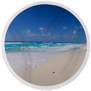 Rock Formation On The Coast, Cancun Round Beach Towel