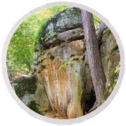 Rock Formation Wildcat Den State Park Round Beach Towel