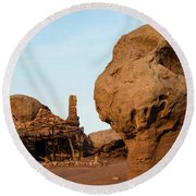 Rock Formations And Abandoned Building Round Beach Towel