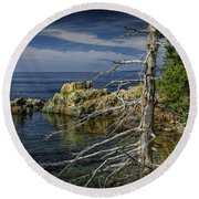 Rock Formations And Trees On The Shoreline In Acadia National Park Round Beach Towel