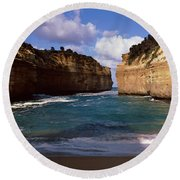 Rock Formations In The Ocean, Loch Ard Round Beach Towel