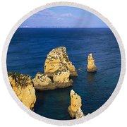 Rock Formations In The Sea, Algarve Round Beach Towel