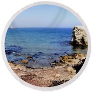 Rock Formations On The Beach, Marcona Round Beach Towel