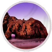 Rock Formations On The Beach, Pfeiffer Round Beach Towel
