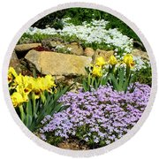 Rock Garden Flowers Round Beach Towel