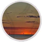 Rock Harbor Sunset 6 Round Beach Towel