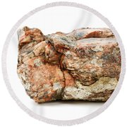 Rock Isolated On White Round Beach Towel