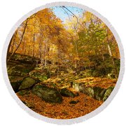 Rock Ledges Among Gold Round Beach Towel