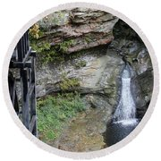 Rock Mill Water Fall In Ohio Round Beach Towel