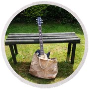 Rock N Roll Guitar In A Bag Round Beach Towel