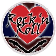 Rock N Roll Union Jack Round Beach Towel