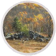 Rock Pile In Maine Blueberry Field Round Beach Towel by Keith Webber Jr