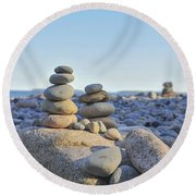 Rock Piles Zen Stones Little Hunters Beach Maine Round Beach Towel