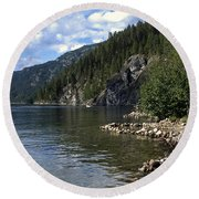 Rock Pools On Christina Lake Round Beach Towel