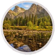 Rock Reflections On The Merced Round Beach Towel