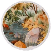 Rock Reflections Round Beach Towel