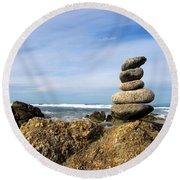 Rock Sculpture At The Beach Round Beach Towel