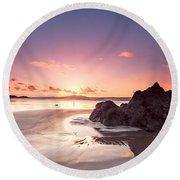 Rock Sunset 03 Round Beach Towel