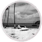 Rock The Boat  Black And White Round Beach Towel