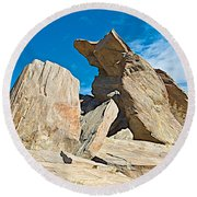Rock Uplifts In Andreas Canyon In Indian Canyons-ca Round Beach Towel