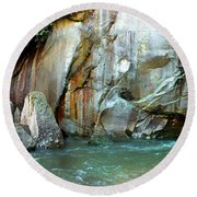 Rock Wall And River Round Beach Towel
