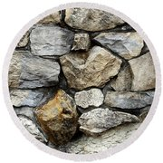 Rock Wall  Round Beach Towel by Les Cunliffe