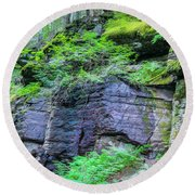 Rock Wall Trail Of The Cedars Glacier National Park Painted Round Beach Towel