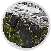 Rock Wall With Moss And A Dusting Of Snow Art Prints Round Beach Towel