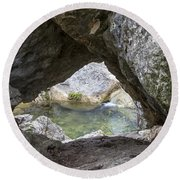Rock Window Round Beach Towel by David Morefield