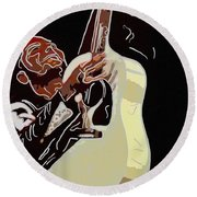Rockabilly Electric Guitar Player  Round Beach Towel by Tommytechno Sweden
