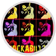 Rockabilly In Comic Style Round Beach Towel