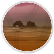 Rockaway Beach Oregon Coast Round Beach Towel