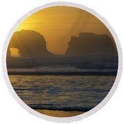 Rockaway Beach Oregon Turning The Sky To Gold Round Beach Towel