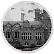 Rockefeller Hall - Bryn Mawr In Black And White Round Beach Towel
