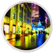 Rockefeller Center Christmas Trees - Holiday And Christmas Card Round Beach Towel