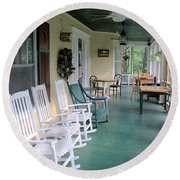 Rockers On The Porch Round Beach Towel