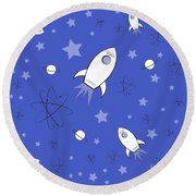 Rocket Science Dark Blue Round Beach Towel