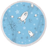 Rocket Science Light Blue Round Beach Towel