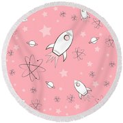 Rocket Science Pink Round Beach Towel