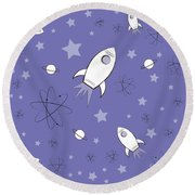 Rocket Science Purple Round Beach Towel