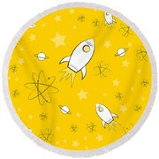 Rocket Science Yellow Round Beach Towel
