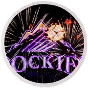 Rockies And Fireworks Round Beach Towel