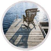 Rocking Chair On Dock Round Beach Towel