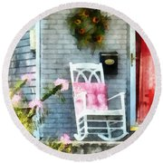 Rocking Chair With Pink Pillow Round Beach Towel by Susan Savad