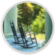 Rocking Chairs And Columns Round Beach Towel