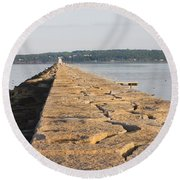Rockland Breakwater Lighthouse Coast Of Maine Round Beach Towel