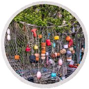 Rockport Fishing Net And Buoys Round Beach Towel