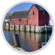 Rockport Fishing Village Round Beach Towel